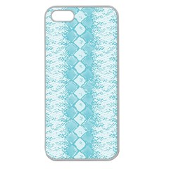 Snake Skin Blue Chevron Wave Apple Seamless iPhone 5 Case (Clear)