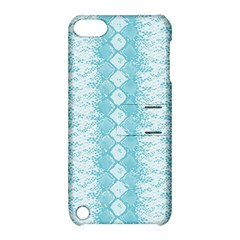 Snake Skin Blue Chevron Wave Apple iPod Touch 5 Hardshell Case with Stand
