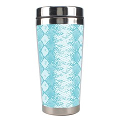 Snake Skin Blue Chevron Wave Stainless Steel Travel Tumblers