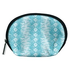 Snake Skin Blue Chevron Wave Accessory Pouches (Medium)