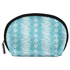 Snake Skin Blue Chevron Wave Accessory Pouches (Large)