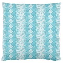 Snake Skin Blue Chevron Wave Large Flano Cushion Case (One Side)