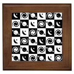 Space Month Saturnus Planet Star Hole Black White Framed Tiles