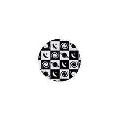 Space Month Saturnus Planet Star Hole Black White 1  Mini Buttons