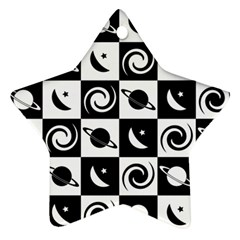 Space Month Saturnus Planet Star Hole Black White Ornament (Star)