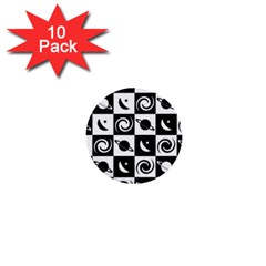Space Month Saturnus Planet Star Hole Black White 1  Mini Buttons (10 pack)