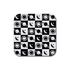 Space Month Saturnus Planet Star Hole Black White Rubber Square Coaster (4 pack)