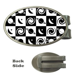 Space Month Saturnus Planet Star Hole Black White Money Clips (Oval)