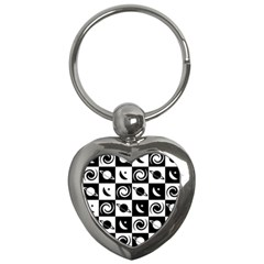 Space Month Saturnus Planet Star Hole Black White Key Chains (Heart)