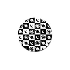 Space Month Saturnus Planet Star Hole Black White Golf Ball Marker