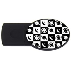 Space Month Saturnus Planet Star Hole Black White USB Flash Drive Oval (2 GB)