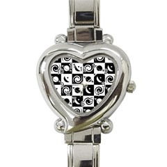 Space Month Saturnus Planet Star Hole Black White Heart Italian Charm Watch
