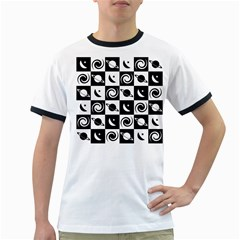 Space Month Saturnus Planet Star Hole Black White Ringer T-Shirts