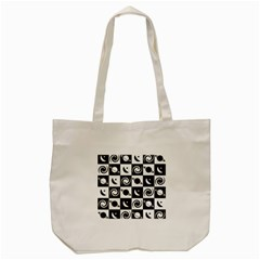 Space Month Saturnus Planet Star Hole Black White Tote Bag (Cream)