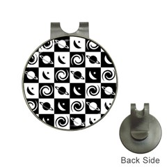 Space Month Saturnus Planet Star Hole Black White Hat Clips with Golf Markers