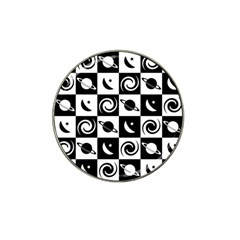 Space Month Saturnus Planet Star Hole Black White Hat Clip Ball Marker