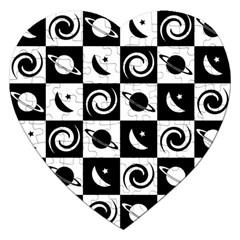 Space Month Saturnus Planet Star Hole Black White Jigsaw Puzzle (Heart)