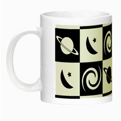 Space Month Saturnus Planet Star Hole Black White Night Luminous Mugs