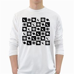 Space Month Saturnus Planet Star Hole Black White White Long Sleeve T-Shirts