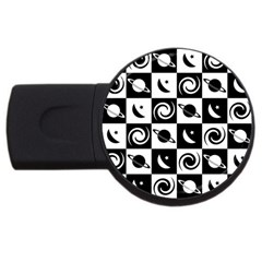 Space Month Saturnus Planet Star Hole Black White USB Flash Drive Round (4 GB)