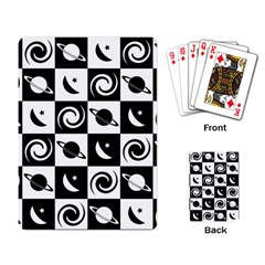 Space Month Saturnus Planet Star Hole Black White Playing Card