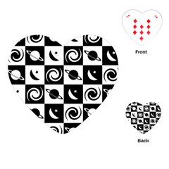 Space Month Saturnus Planet Star Hole Black White Playing Cards (Heart)