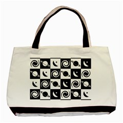 Space Month Saturnus Planet Star Hole Black White Basic Tote Bag