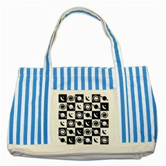 Space Month Saturnus Planet Star Hole Black White Striped Blue Tote Bag