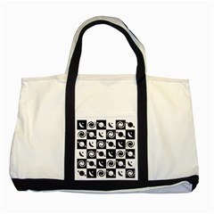Space Month Saturnus Planet Star Hole Black White Two Tone Tote Bag