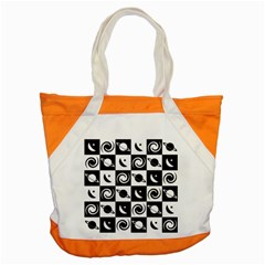 Space Month Saturnus Planet Star Hole Black White Accent Tote Bag