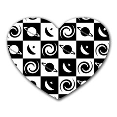 Space Month Saturnus Planet Star Hole Black White Heart Mousepads