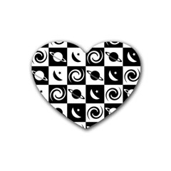 Space Month Saturnus Planet Star Hole Black White Heart Coaster (4 pack)