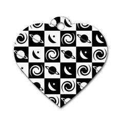 Space Month Saturnus Planet Star Hole Black White Dog Tag Heart (One Side)
