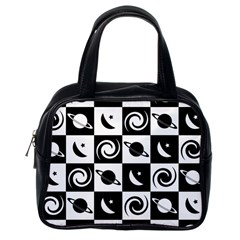 Space Month Saturnus Planet Star Hole Black White Classic Handbags (One Side)
