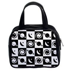 Space Month Saturnus Planet Star Hole Black White Classic Handbags (2 Sides)