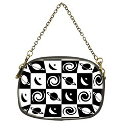 Space Month Saturnus Planet Star Hole Black White Chain Purses (One Side)
