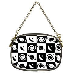 Space Month Saturnus Planet Star Hole Black White Chain Purses (Two Sides)