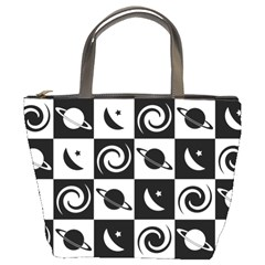 Space Month Saturnus Planet Star Hole Black White Bucket Bags