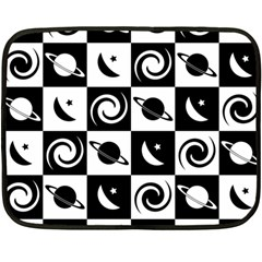 Space Month Saturnus Planet Star Hole Black White Fleece Blanket (Mini)