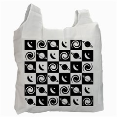 Space Month Saturnus Planet Star Hole Black White Recycle Bag (Two Side)
