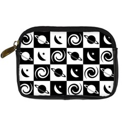 Space Month Saturnus Planet Star Hole Black White Digital Camera Cases