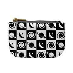 Space Month Saturnus Planet Star Hole Black White Mini Coin Purses