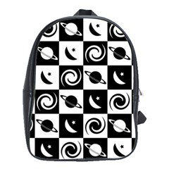 Space Month Saturnus Planet Star Hole Black White School Bags(Large)