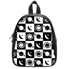 Space Month Saturnus Planet Star Hole Black White School Bags (Small)