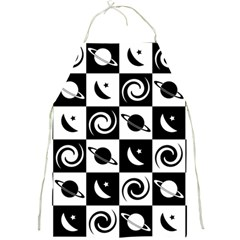 Space Month Saturnus Planet Star Hole Black White Full Print Aprons