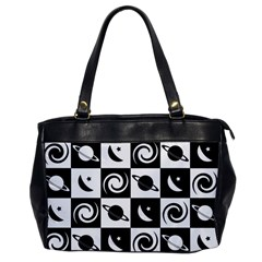 Space Month Saturnus Planet Star Hole Black White Office Handbags
