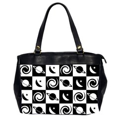 Space Month Saturnus Planet Star Hole Black White Office Handbags (2 Sides)