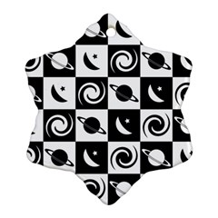 Space Month Saturnus Planet Star Hole Black White Snowflake Ornament (Two Sides)