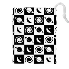 Space Month Saturnus Planet Star Hole Black White Drawstring Pouches (XXL)