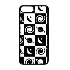 Space Month Saturnus Planet Star Hole Black White Apple iPhone 7 Plus Seamless Case (Black)